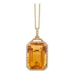 Goshwara Citrine Emerald Cut with Diamonds Pendant