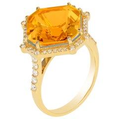 Goshwara Citrine Octagon and Diamond Ring