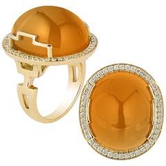 Goshwara Citrine Oval Cabochon and Diamond Ring