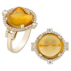 Goshwara Citrine Sugar Loaf And Diamonds Ring