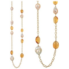 Goshwara Citrine Tumbled Beads and Pearl Necklace