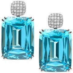Goshwara Cushion Blue Topaz and Diamond Motif Earrings