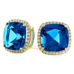 Goshwara Cushion London Blue Topaz and Diamond Earrings