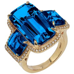 Goshwara Cushion London Blue Topaz and Diamond Ring