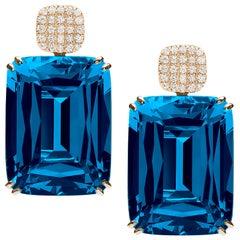 Goshwara Cushion London Blue Topaz and Motif Diamond Earrings