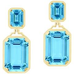 Goshwara Double Emerald Cut Blue Topaz Long Earrings