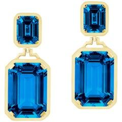 Goshwara Double Emerald Cut London Blue Topaz Long Earrings