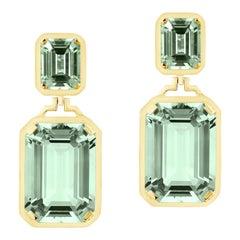Goshwara Double Emerald Cut Prasiolite Long Earrings