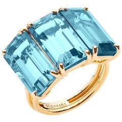 Goshwara Emerald Cut Blue Topaz 3-Stone Ring