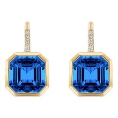 Goshwara Emerald Cut Blue Topaz on Wire Earrings