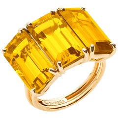 Goshwara Emerald Cut Citrine 3-Stone Ring