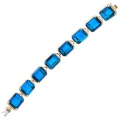 Goshwara Emerald Cut London Blue Topaz and Diamond Bracelet