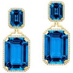 Goshwara Emerald Cut London Blue Topaz and Diamond Earrings