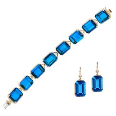 Goshwara Emerald Cut London Blue Topaz with Diamond Bracelet and Earrings
