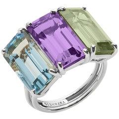 Goshwara Emerald Cut Multi-Color 3-Stone Ring