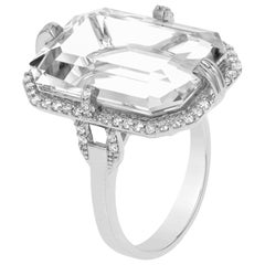 Goshwara Emerald Cut Rock Crystal and Diamond Ring