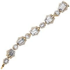 Goshwara Emerald Cut Rock Crystal with Diamonds Bracelet