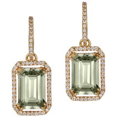 Goshwara Emerald Cut with Diamonds Earrings