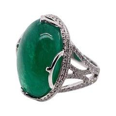 Goshwara Emerald Oval Cabochon Ring