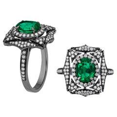 Goshwara Faceted Emerald and Diamond Web Ring
