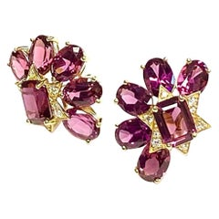 Goshwara Faceted Oval and Emerald Cut Garnet Stud with Diamonds Earrings