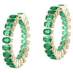 Goshwara Faceted Oval Emerald Hoop Earrings
