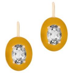 Goshwara Faceted Oval Rock Crystal, with Brown Enamel border Earrings