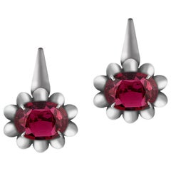 Goshwara Faceted Oval Rubellite with Black Rhodium Earrings