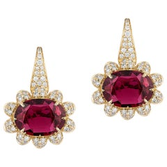 Goshwara Faceted Oval Rubellite with Diamonds Earrings