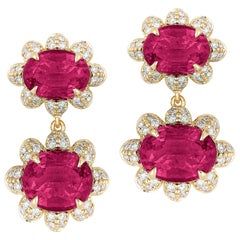 Goshwara Faceted Oval Twin Rubelite with Diamonds Earrings