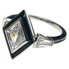 Goshwara Fancy Cut Diamond with Black Jade Ring