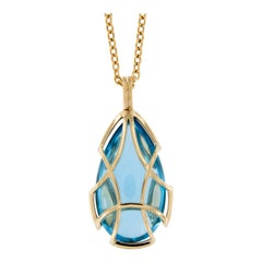 Goshwara Freedom Gold Blue Topaz and Quartz Cage Necklace