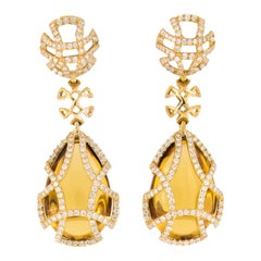 Goshwara Freedom Gold Citrine Diamond Cage Earrings