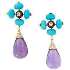 Goshwara G-One 18 Karat Gold Amethyst Turquoise Rubelite and Diamond Earrings