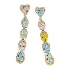 Goshwara G-One 18 Karat Gold Multi Drop Aquamarine and Colored Beryl Earrings