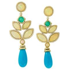 Goshwara G-One 18 Karat Gold Turquoise Opal Emerald and Diamond Drop Earrings