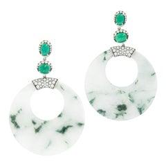Goshwara G-One 18 Karat White Gold Jade Emerald and Diamond Drop Earrings