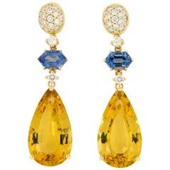 Goshwara G-One 18 Karat Yellow Gold Beryl Sapphire Diamond Dangle Earrings