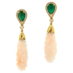 Goshwara G-One 18 Karat Yellow Gold Carved Coral Emerald Diamond Drop Earrings