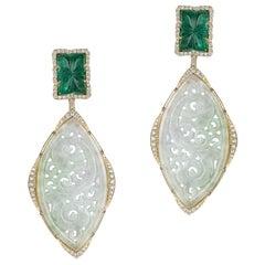 Goshwara G - One 18 Karat Gold Carved Jade Emerald and Diamond Drop Earring