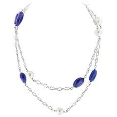 "Goshwara ""G-One"" Tanzanite South Sea Pearl Chain Necklace"