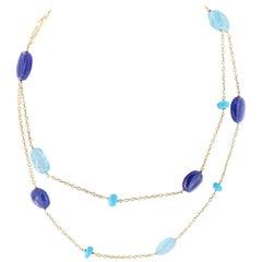 "Goshwara ""G-One"" Tanzanite, Topaz, Turquoise, 18 Karat Gold Chain Necklace"