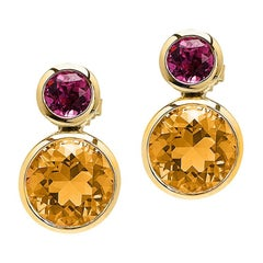 Goshwara Garnet and Citrine Double Bezel Earrings