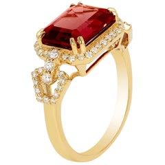Goshwara Garnet Small East-West Emerald Cut Ring