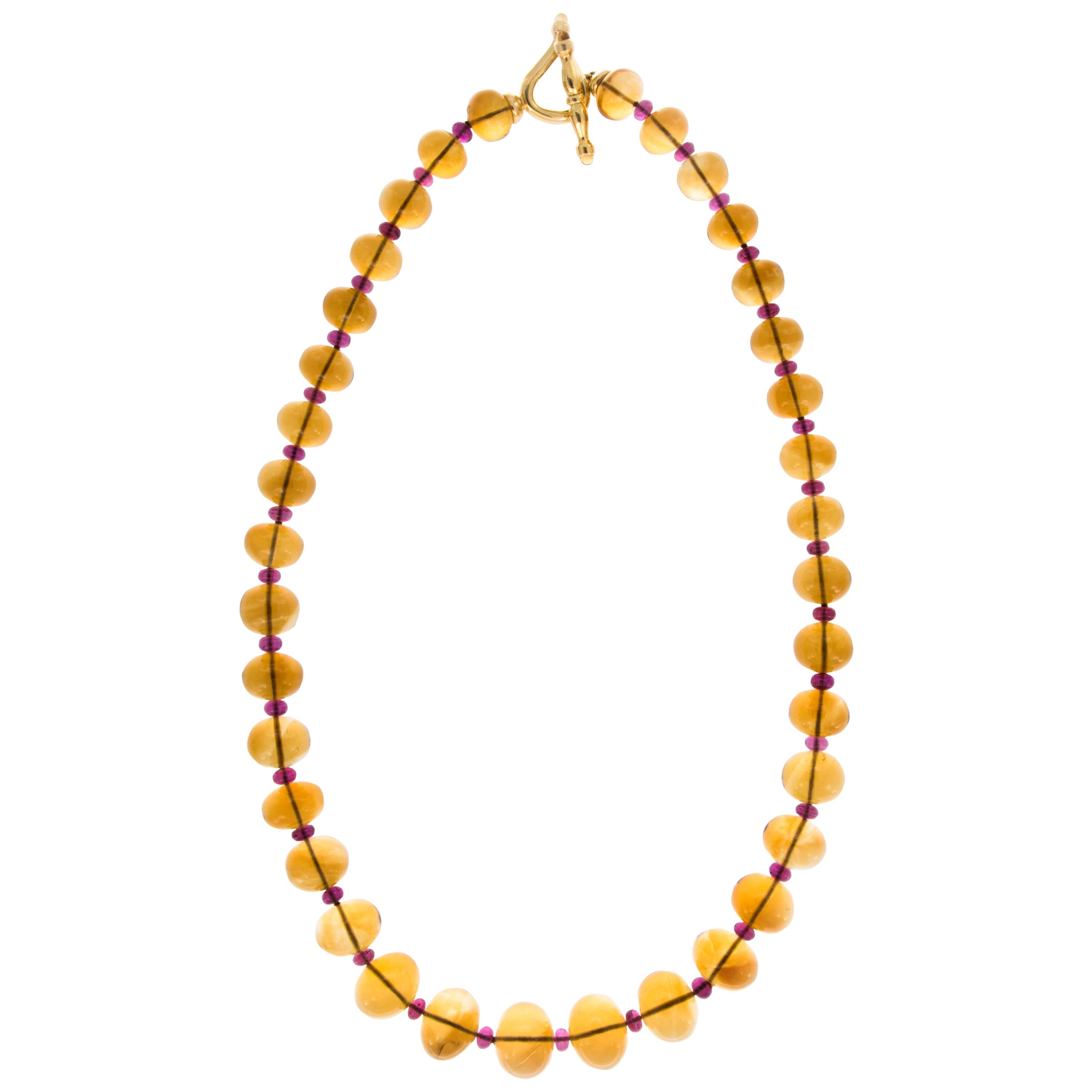 Goshwara Gold Citrine and Rubelite Beaded Necklace