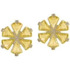 Goshwara Golden Rutilated Fancy Trillion Flower Diamond Earrings