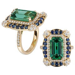 Goshwara Green Tourmaline Emerald Cut with Diamonds and Sapphire Ring