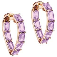 Goshwara Heart Shape Lavender Amethyst Hoop Earrings