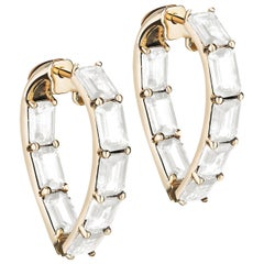 Goshwara Heart Shape Moon Quartz Hoop Earrings
