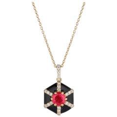 Goshwara Hexagon Black Enamel with Ruby and Diamonds Pendant